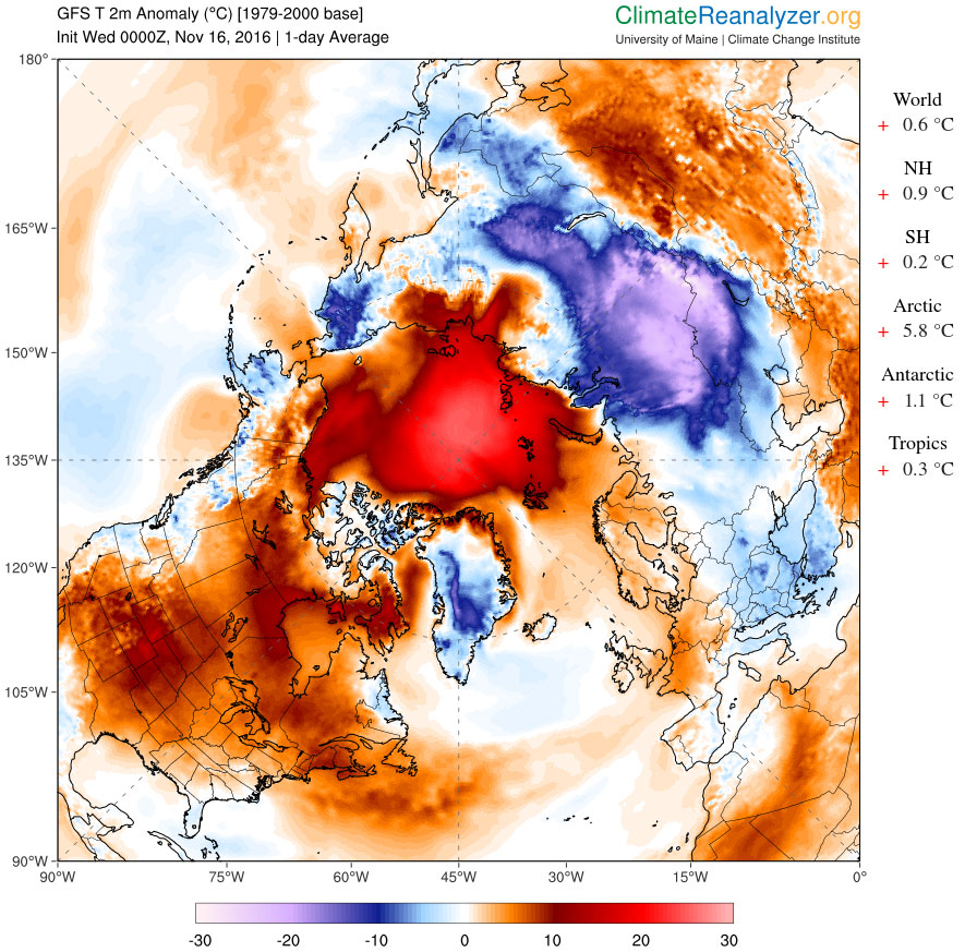 Figure 10. Northern Hemisphere 2-meter temperature anomaly map for Nov. 16, 2016. Estimated from NCEP GFS/CFSR.