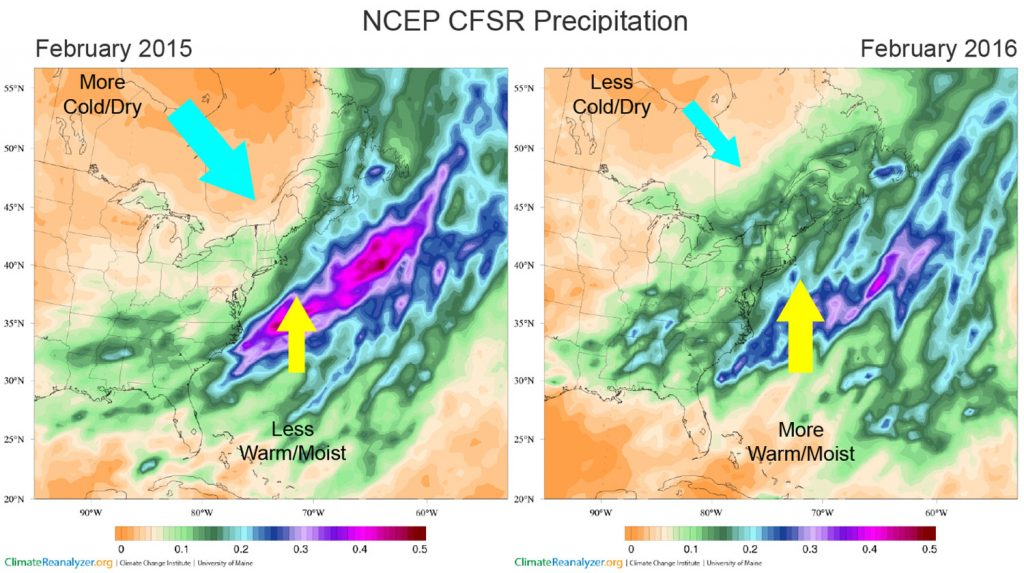 Figure 5. Precipitation (meters) for February 2015 (left) and 2016 (right).