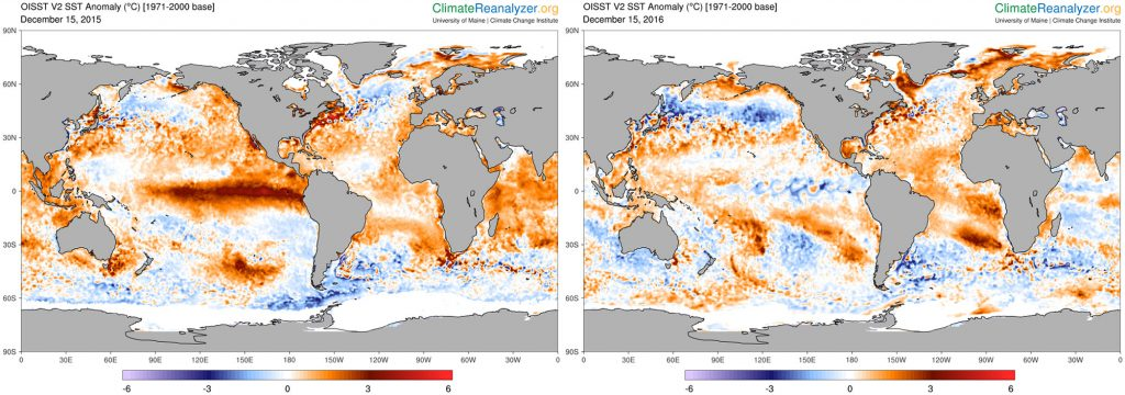 Figure 9. Sea surface temperature (SST) anomaly maps for Dec. 15, 2015 (left) and Dec. 15, 2016 (right). Note the differences in SSTs across the equatorial Pacific, resulting from the transition from El Niño to La Niña conditions. SST anomaly estimates from NOAA OISST.