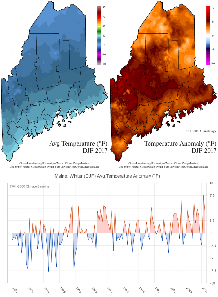 Figure 1. Temperature maps and time series for winter 2017.