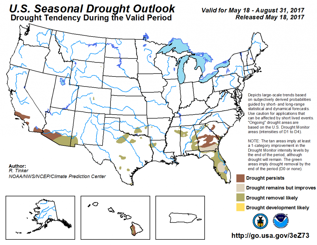 Figure 10. NOAA seasonal drought outlook map for May 18 – August 31 published May 18, 2017.