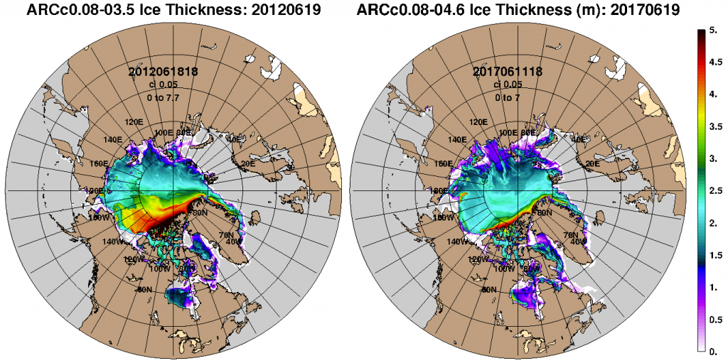 Figure 13. Comparison of Arctic sea-ice thickness forecasts for June 19, 2012 and June 19, 2017 simulated by the HYCOM model used by the U.S. Navy.