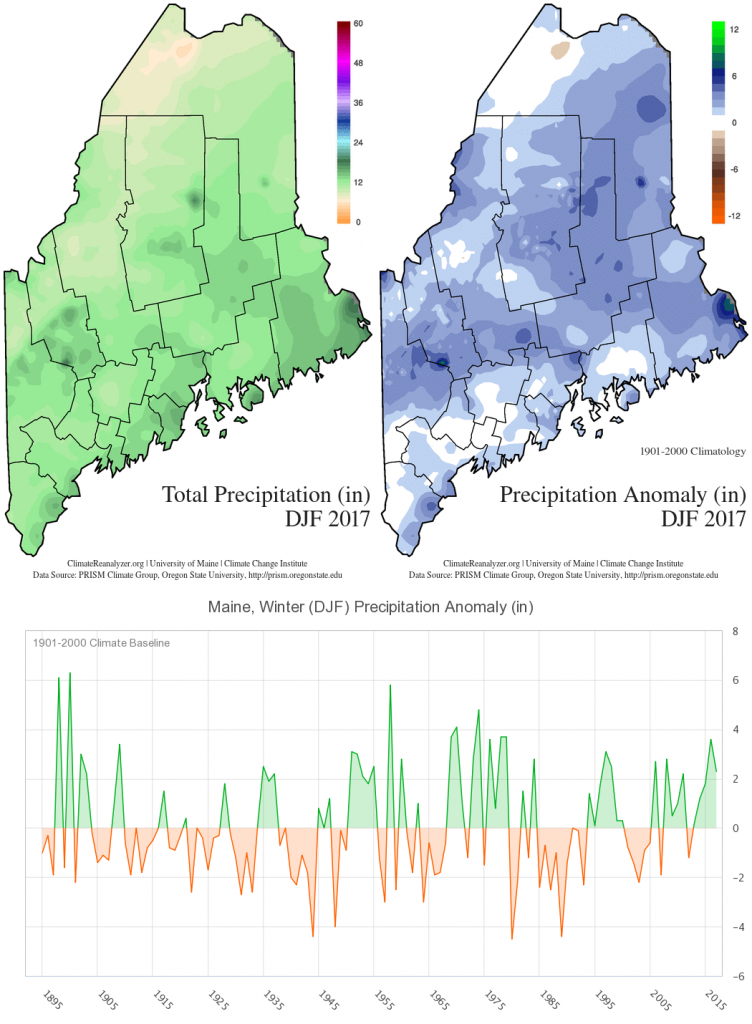Figure 2. Precipitation maps and time series for winter 2017.