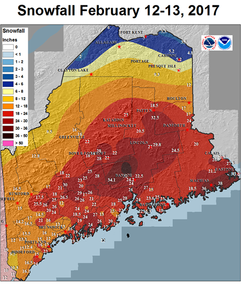Figure 3. Total snowfall map issued by the Caribou office of the National Weather Service for the February 12-13 storm.