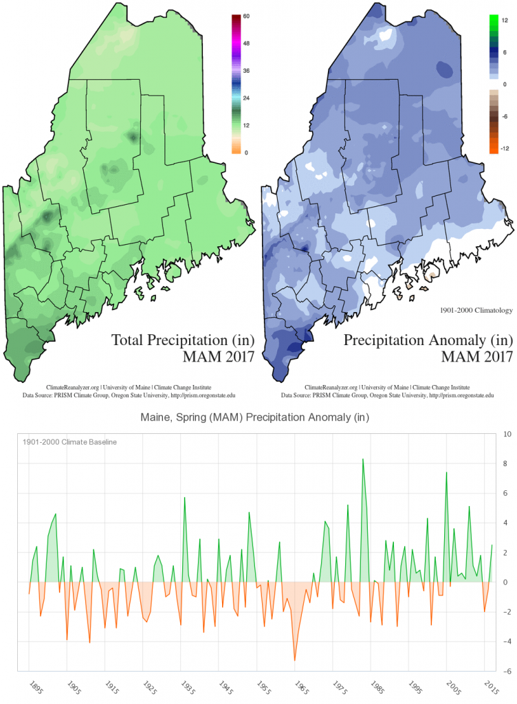 Figure 8. Precipitation maps and time series for spring 2017.