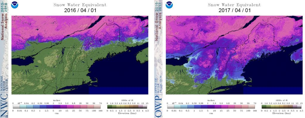 Figure 9. Comparison of April 1 snowpack for 2016 and 2017. Image from the NWS National Hydrologic Remote Sensing Center (https://www.nohrsc.noaa.gov/nsa/index.html).