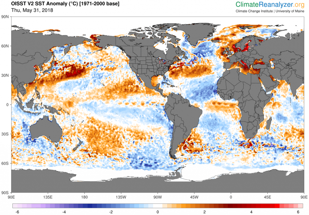 Figure 7.Map of global SST anomalies May 31st, 2018 estimated from theNOAA Optimum Interpolated SST version 2dataset. Clickhereto view an animation. This and other maps of daily SST and SST anomaly 1982—present are available onClimate Reanalyzer.
