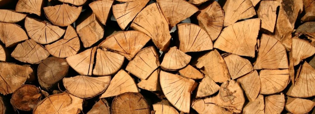 wood pile with chopped wood, stacked