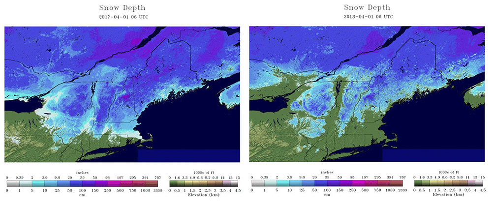 Figure 4.Snowdepth April 1st2017 and 2018 estimated by theNWS National Hydrologic Remote Sensing Center. Clickhereto view an animation of season snowdepth changes.