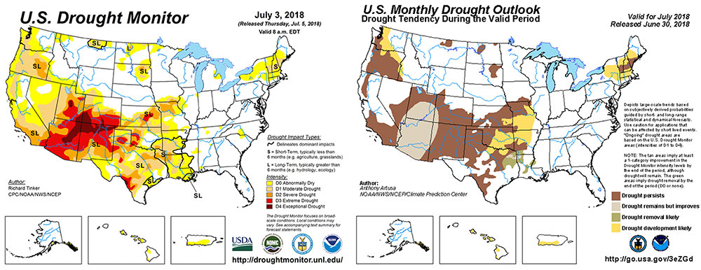 Figure 6.Current and forecasted U.S. drought conditions for early July, 2018. Images from theNational Drought Mitigation CenterandNWS Climate Prediction Center.