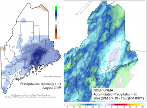 Maps of a) August 2019 total precipitation anomaly, and b) Accumulated precipitation 7-8 August, 2019. Spatial data from the PRISM Climate Group and the NCEP Unrestricted Mesoscale Analysis (URMA).