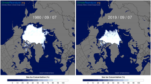 Maps of satellite-measured Arctic sea ice concentration in 1980 and 2019 on for September 7th, which is near the annual minimum extent. Source data from NCEP Climate Forecast System Reanalysis. These and other daily sea-ice concentration maps are available on the Daily Sea Ice Timeseries and Maps interface on Climate Reanalyzer.