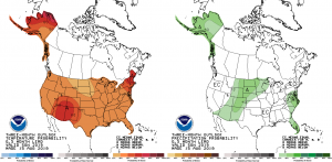 Three-month (SON) temperature and precipitation outlooks from the NWS Climate Prediction Center [17].