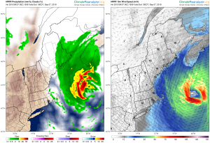 Rainfall and wind speed forecasted by the High Resolution Rapid Refresh (HRRR) model during the passage of Hurricane Dorian heading toward Nova Scotia. Click image to view forecast animation. See also Hourly Forecast Maps on Climate Reanalyzer.