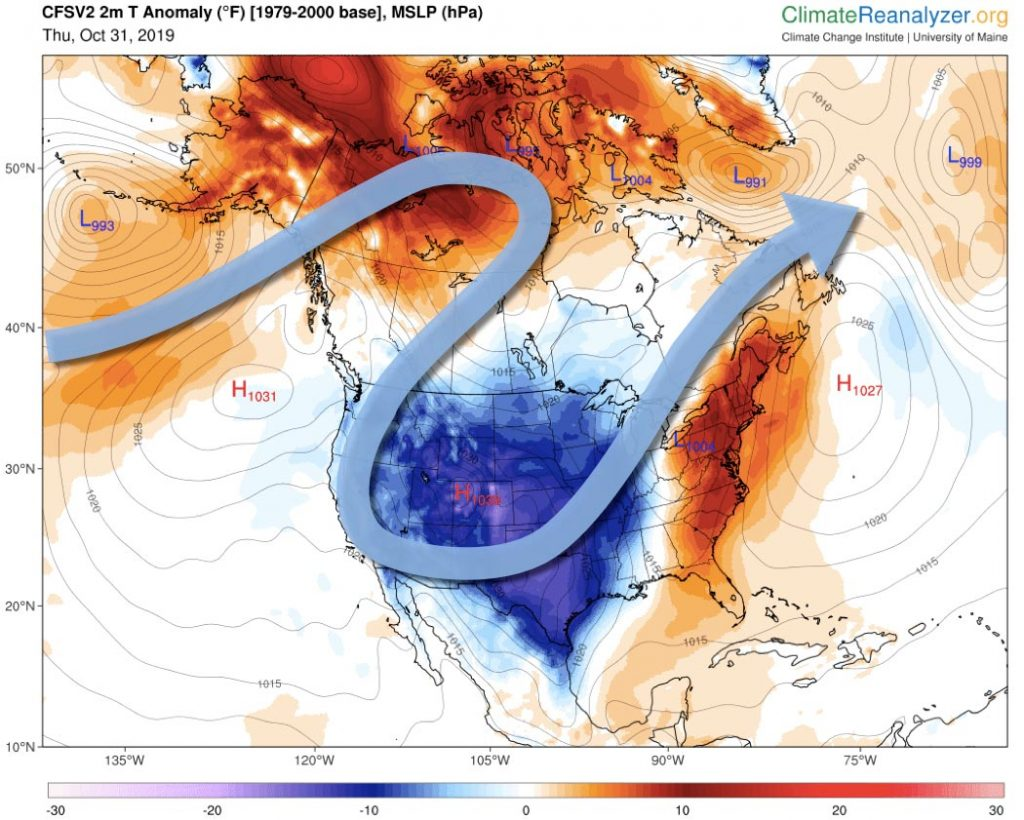 Map of North America showing the daily mean temperature anomalies and schematic depiction of the jet stream over North America for October 31, 2019