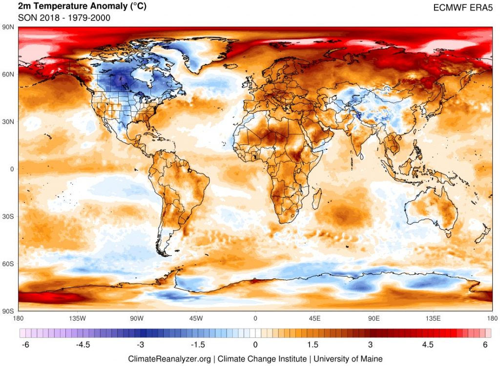 a graphic map of all continents showing fall 2019 worldwide temperature anomalies in reference to a 1979-2000 climate baseline.