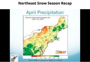 "screenshot of the webinar ""Northeast Snow Season Recap"""