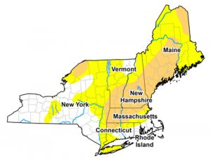 Map showing areas of drought in New England