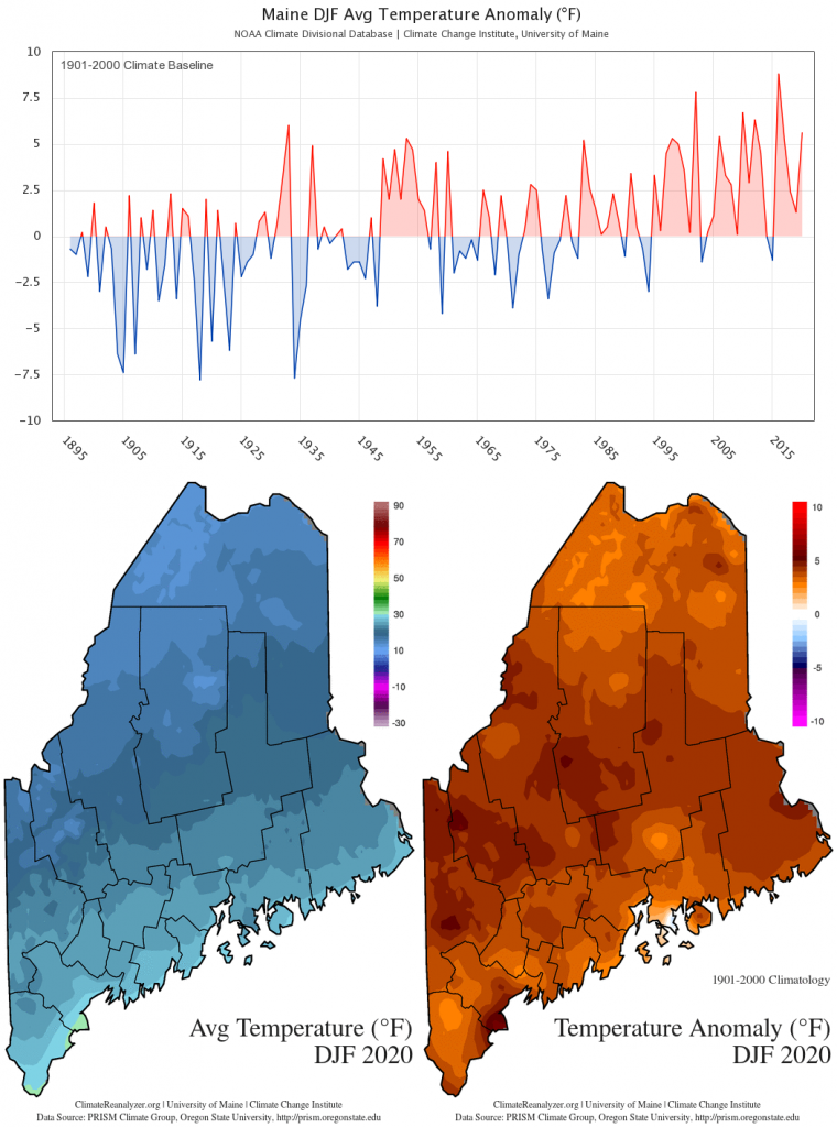 Figure 1. Statewide DJF average temperature anomaly (1901-2000 baseline) timeseries and maps. Timeseries data from the NOAA U.S. Climate Divisional Database. Spatial data from the PRISM Climate Group. These charts are also available on the Maine Climate Office website.