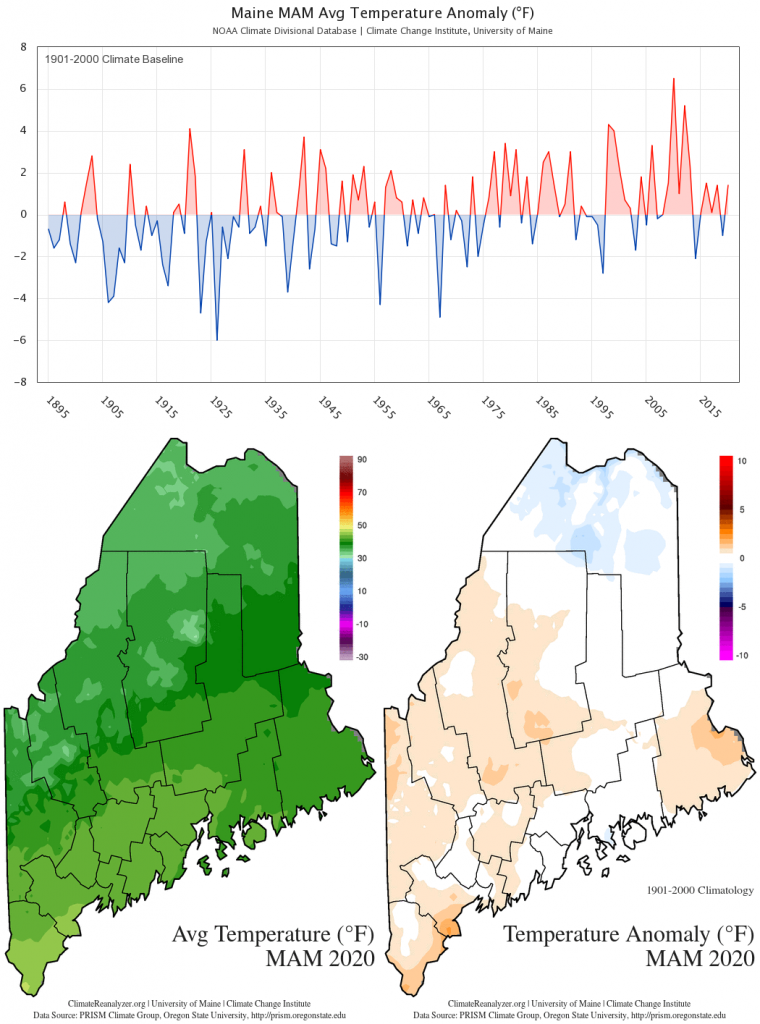 Statewide MAM average temperature anomaly (1901-2000 baseline) timeseries and maps. Timeseries data from the NOAA U.S. Climate Divisional Database. Spatial data from the PRISM Climate Group. These charts are also available on the Maine Climate Office website.