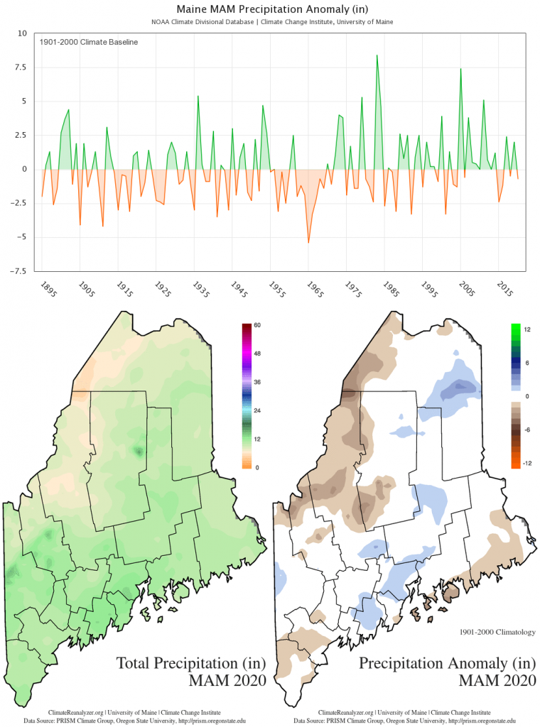 Statewide MAM total precipitation anomaly (1901-2000 baseline) timeseries and maps. Timeseries data from the NOAA U.S. Climate Divisional Database. Spatial data from the PRISM Climate Group. These charts are also available on the Maine Climate Office website.