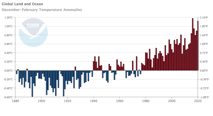 Figure 3. Global mean DJF temperature anomaly timeseries. Image from NOAA/NCEI Climate at a Glance.