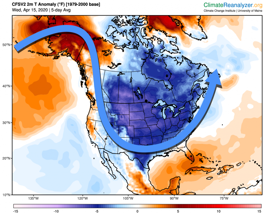 Map of temperature anomalies with schematic depiction of jetstream across North America averaged for the five-day period April 15-19. The temperature anomalies are in reference to a 1979-2000 climate baseline. Source data from NCEP Climate Forecast System and Reanalysis. Temperature anomaly and other maps of historical daily mean weather are available on Climate Reanalyzer.
