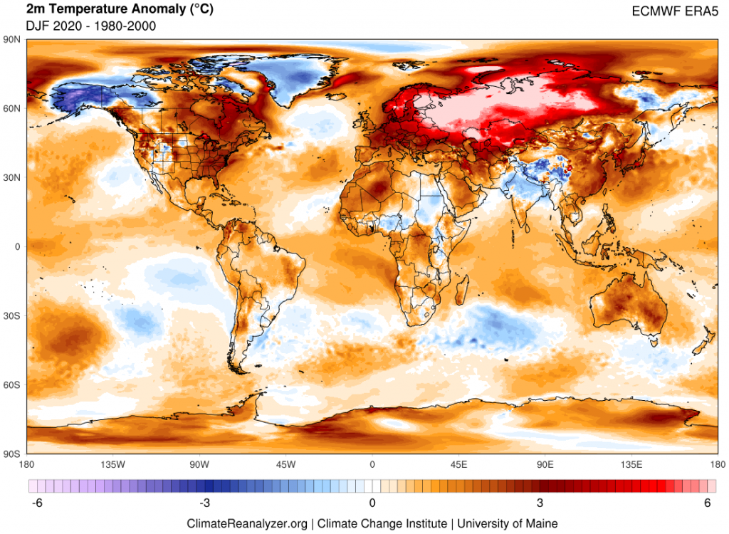 Figure 4. Map showing DJF 2019 worldwide temperature anomalies in reference to a 1979-2000 climate baseline. Source data from the European Centre Reanalysis version 5 (ERA5). Image generated using Climate Reanalyzer.
