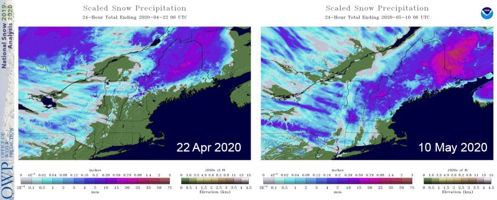 Maps of 24-hour snow precipitation for the late-season snowstorms on April 22nd and May 10th, 2020. Images from the National Snow Analysis operated through the NOAA Office of Water Prediction and NWS National Operational Hydrologic Remote Sensing Center.