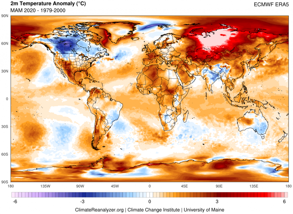 Map showing MAM 2019 worldwide temperature anomalies in reference to a 1979-2000 climate baseline. Source data from the European Centre Reanalysis version 5 (ERA5). Image generated using Climate Reanalyzer.