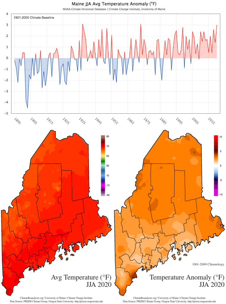 Statewide JJA average temperature anomaly (1901-2000 baseline) timeseries and maps
