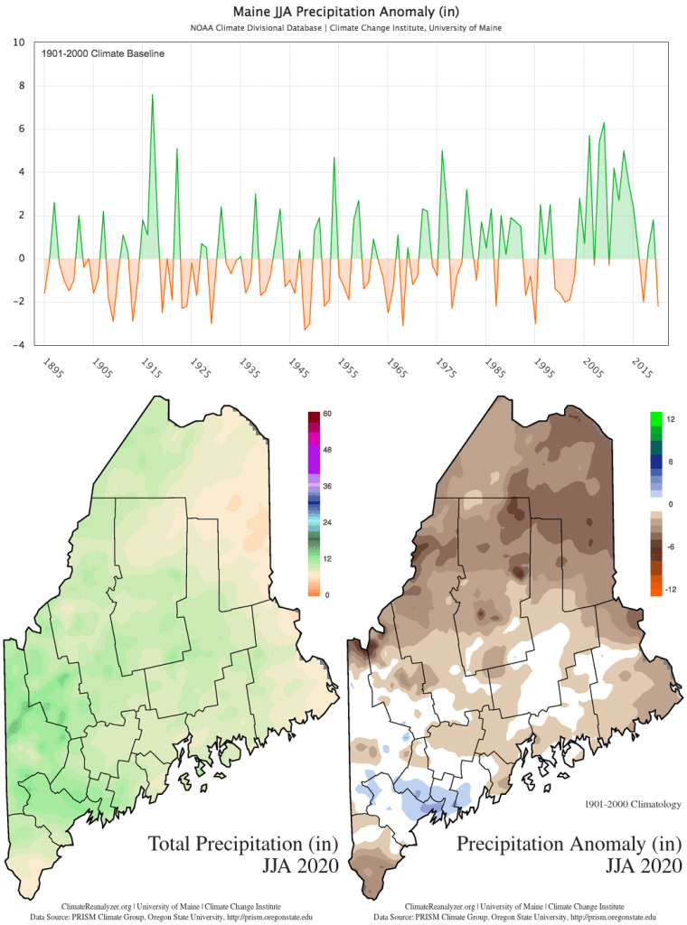 Statewide JJA total precipitation anomaly (1901-2000 baseline) timeseries and maps