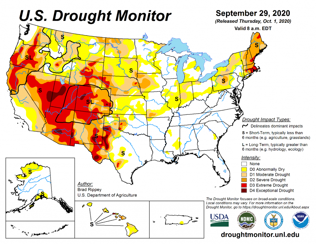 U.S. map showing areas of drought