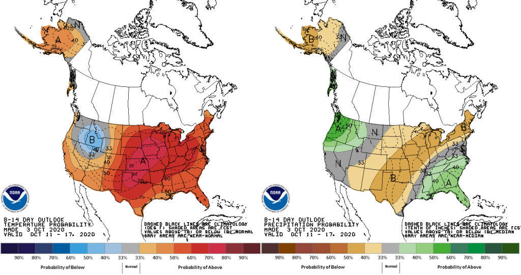 U.S. maps showing temperature and precipitation 8-14 day outlooks