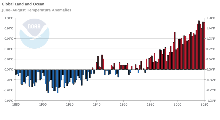 chart showing Global mean JJA temperature anomaly timeseries