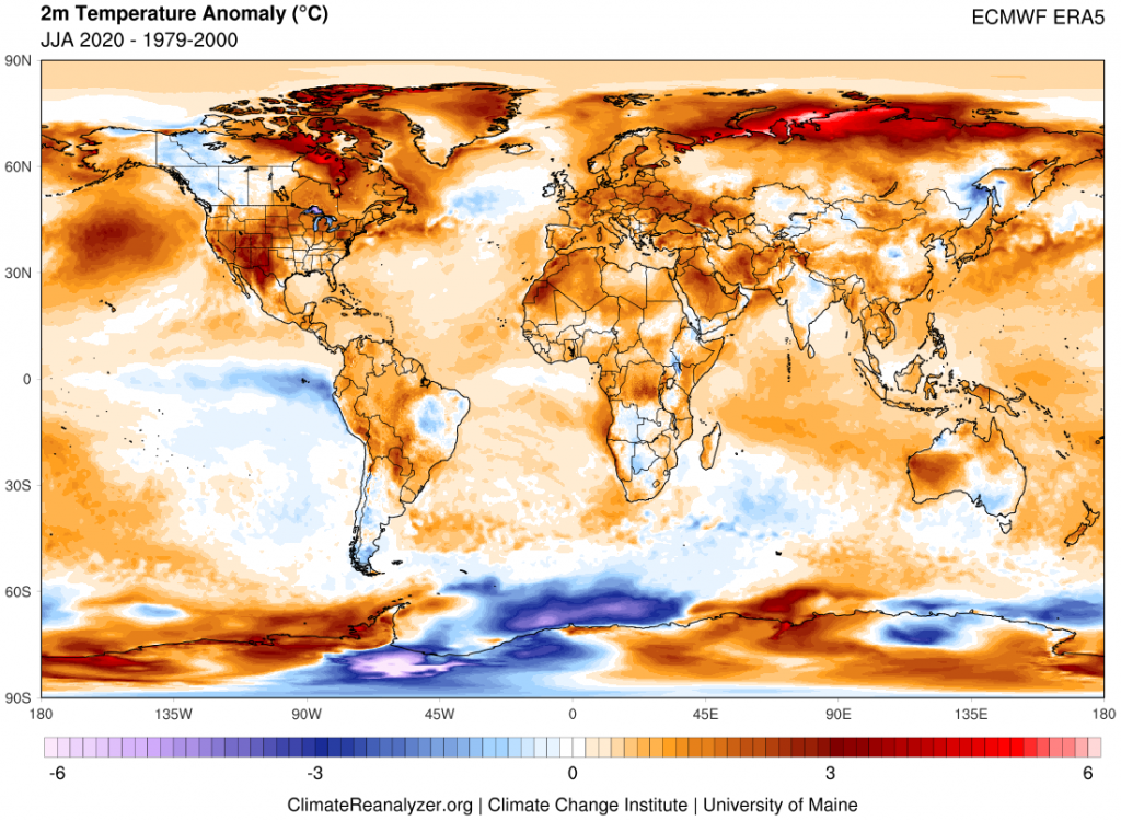 Map showing JJA 2020 worldwide temperature anomalies in reference to a 1979-2000 climate baseline.