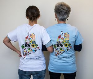Back of MGV t-shirt showing a graphic of Maine made up of regional food items