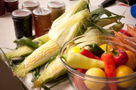 corn, peppers, and preserves