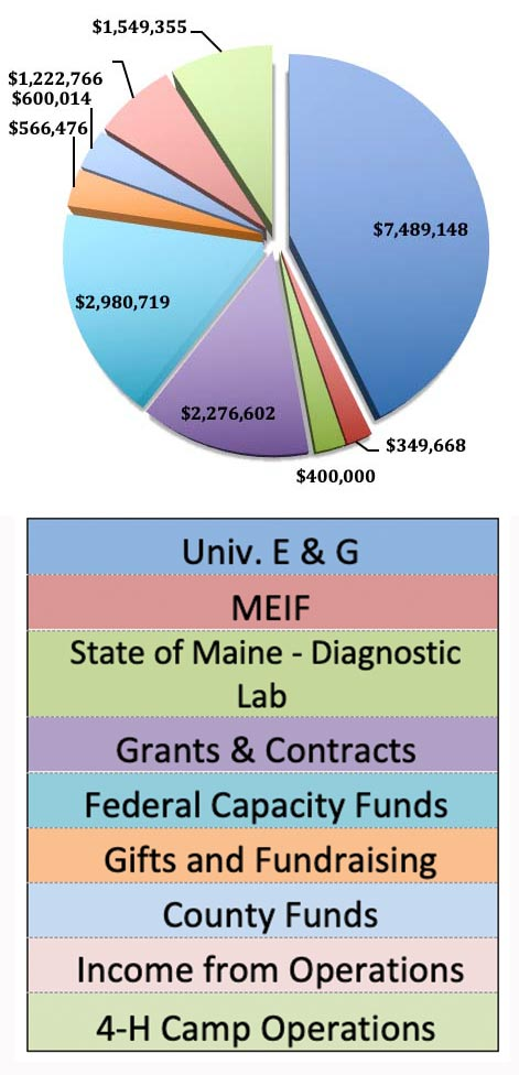 Statewide Extension Funding: University E&G $7,489,148, MEIF $349,668, State of Maine Diagnostic Lab $400,000, Grants & Contracts $2,276,602, Federal Capacity Funds $2,980,719, Gifts & Fundraising $566,476, County Funds $600,014, Income from Operations $1,222,766, 4-H Camp Operation $1,549.355
