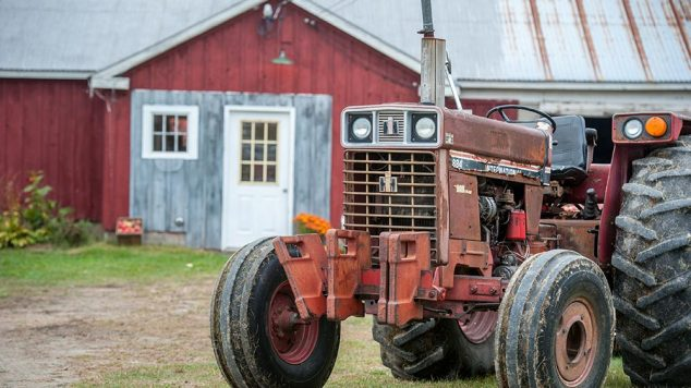 farm tractor and barn