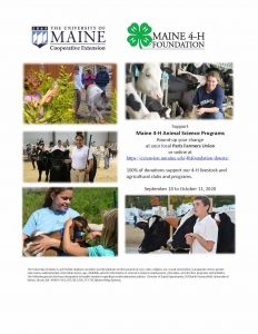 4-H Poster: Support Maine 4-H Animal Science Programs, Round-up your change at your local Paris Farmer Union September 10 to October 11, 2020