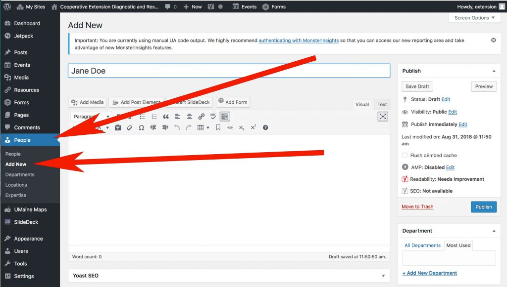 screenshot indicating where to find the People feature in WordPress