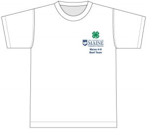 White t-shirt with breast pocket design: 4-H clover centered above extension logo above club name