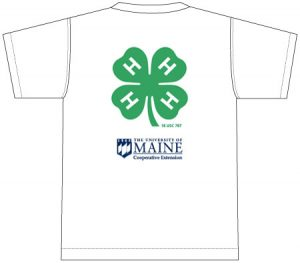 4-H T-Shirt: white, printed on back with 4-H and UMaine Extension logos