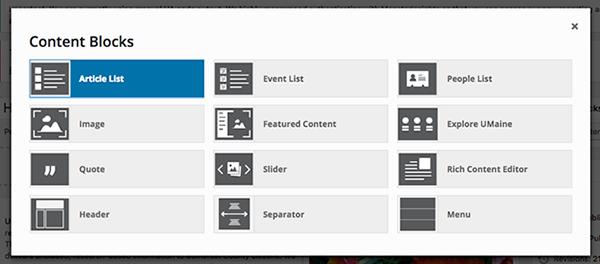 screenshot of content blocks pop up menu
