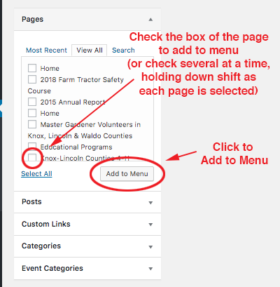 screenshot of how to seelct pages to add to a menu