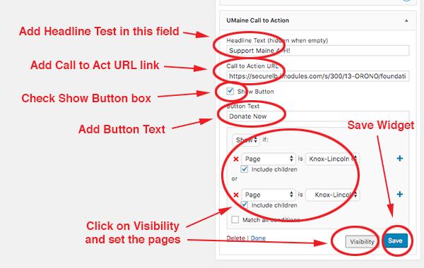 screenshot of adding a UMaine Call to Action widget