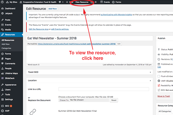 screenshot of the tab in top black bar to view a resource