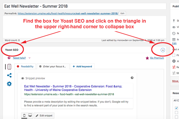 screenshot with directions to collapse yoast seo box