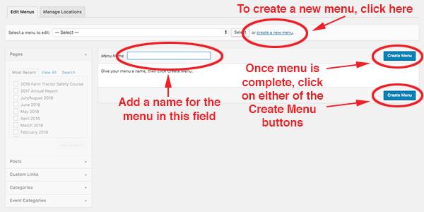 screenshot of the the steps to create a new menu